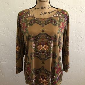 Hearts of Palm, brown with designs blouse, size L